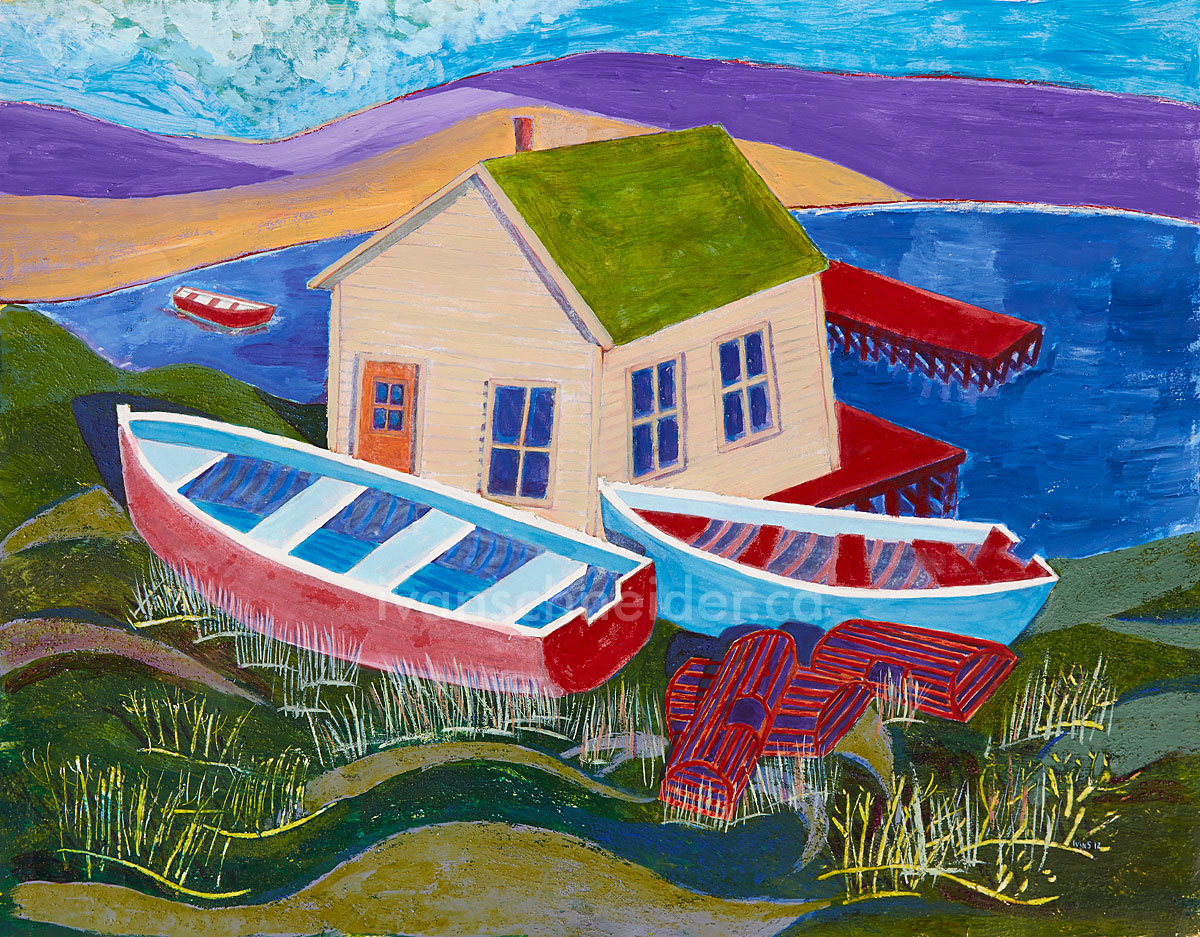 Ivan Schneider houseboat painting